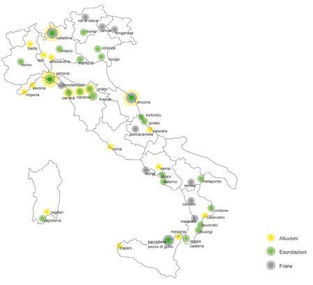 Italia. L'individuazione dei centri che hanno subito eventi calamitosi dagli anni '50 al 2011.