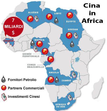 La Cina ha investito in Africa miliardi di dollari per assicurarsi le risorse naturali e le materie prime di cui ha bisogno, e affermare la sua influenza economica e politica sul continente africano. Il volume dell'intercambio commerciale tra Cina e Africa negli ultimi sei anni si è decuplicato, passando da 50,6 miliardi di dollari nel 2004 a 106,8 nel 2009, e ai 210 del 2013 con un incremento annuo del 33%.