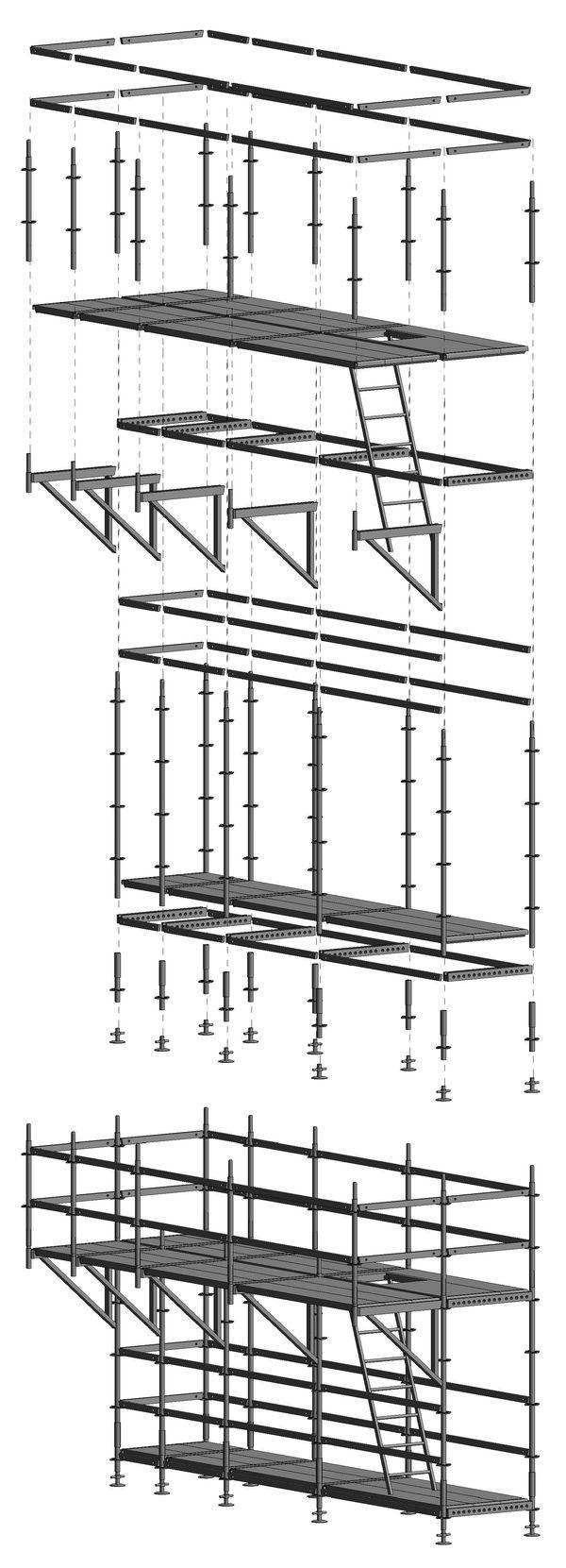 Ogni struttura complessa è realizzata da singoli elementi ognuno dei quali mantiene inalterata la propria identità all'interno della struttura cui appartiene. Questi elementi possono essere usati singolarmente per garantire la massima flessibilità compositiva oppure pre-assemblati per automatizzare alcune operazioni ricorrenti e consentire tempistiche di modellazione più rapide. Esempio di ponteggio multi-direzionale.