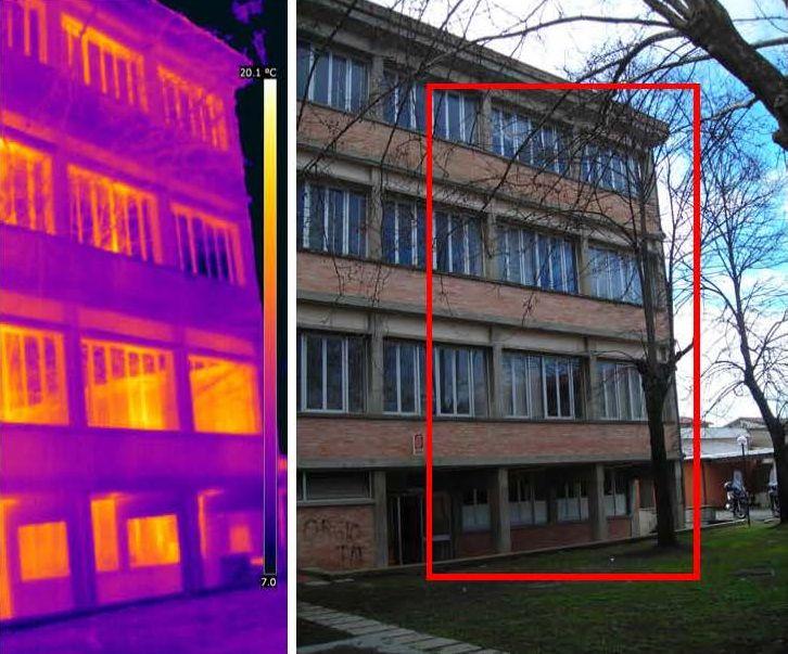 3. Analisi termografica dellìIstituto tecnico Stagi di Viareggio, con evidenza della scarsa resistenza termica dei componenti finestrati e la presenza di ponti termici materici sulle velette delle finestre.