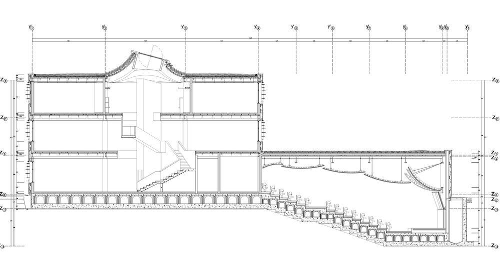 4. Sezione longitudinale del Liceo Barsanti Matteucci a Viareggio. (Disegno di Leonardo Boganini).