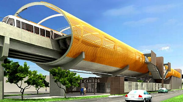 Il render di un particolare della nuova linea della metro di Lima, che sarà lunga 35 chilometri. Al termine dei nuovi lavori le sette linee della metropolitana svilupperanno complessivamente 133 Km.