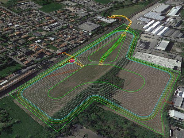 Il progetto della vasca di laminazione di Lentate sul Seveso con le curve di livello.