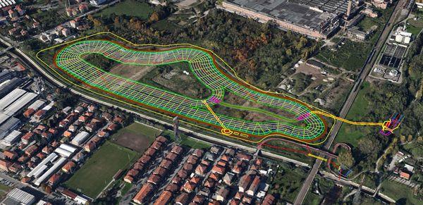 Il progetto della vasca di laminazione di Paderno Dugnano con le curve di livello.