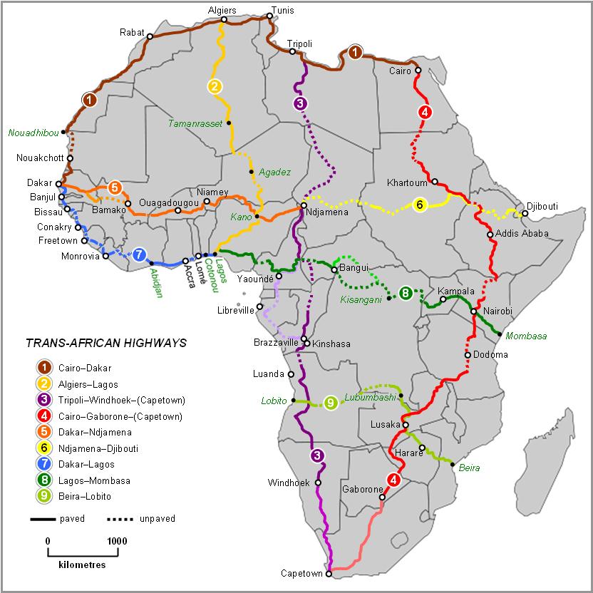 Mappa reti stradali dell'Africa.