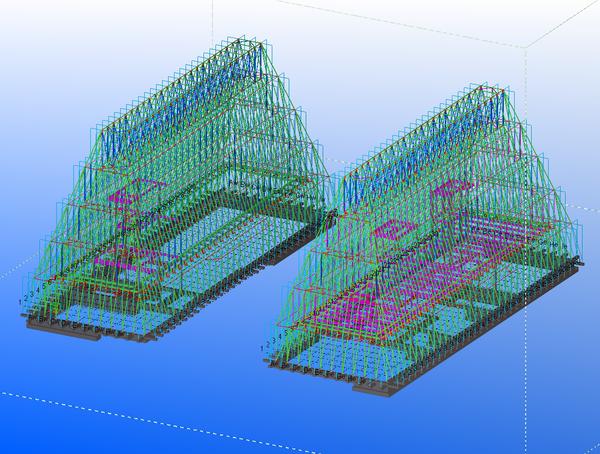 Si è analizzata l'intera struttura degli edifici con la modellazione strutturale e gli elementi metallici sono stati dimensionati in base alle forze applicate ottenendo un risultato leggero e semplice da assemblare. (Studio Scandurra)
