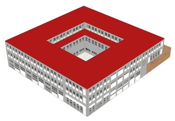 Modello dell'edificio creato con Design Builder.