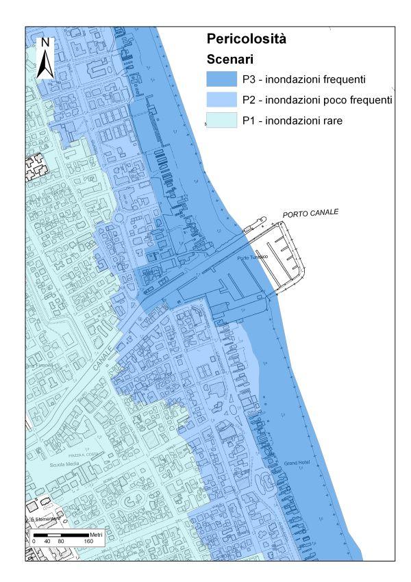 Mappe della cartografia del rischio e degli scenari di pericolosità di inondazione marina nel tratto di costa a Cervia (Servizio Difesa del suolo, della costa e bonifica dell'Emilia-Romagna).
