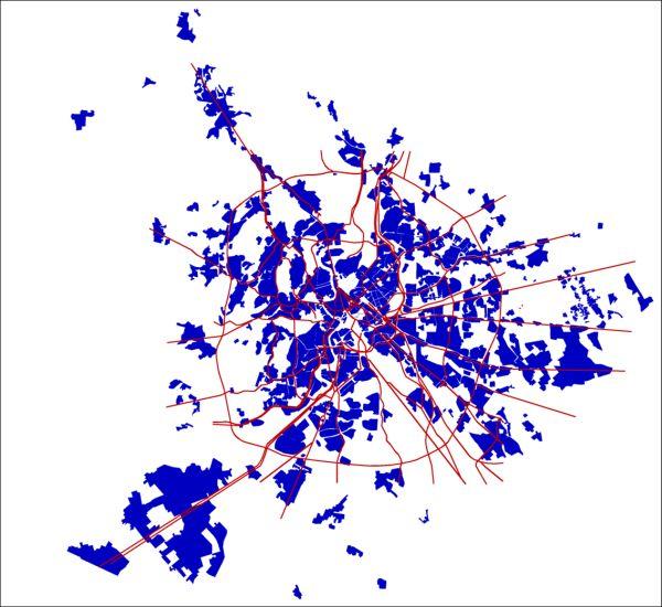 Un mappa della città di Roma, con le sue radiali e i numerosi quartieri.