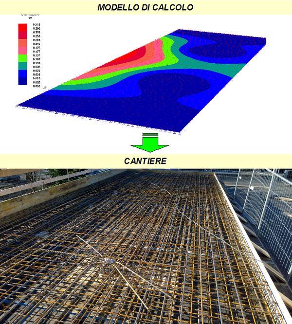 Esempio di modello di calcolo per una soletta in c.a. e effettiva realizzazione della stessa (foto di Amv srl e Casagrande Costruzioni Edili srl).