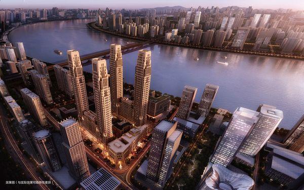 Il lussuoso quartiere di Metropolis 79 sorge sulle rive del fiume Qiatang.