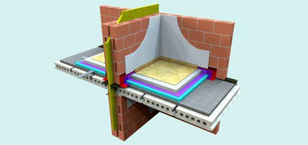 Tipica parete in elementi di laterizio realizzata in Belgio per separare alloggi distinti di case a schiera con solaio interrotto nel giunto.
