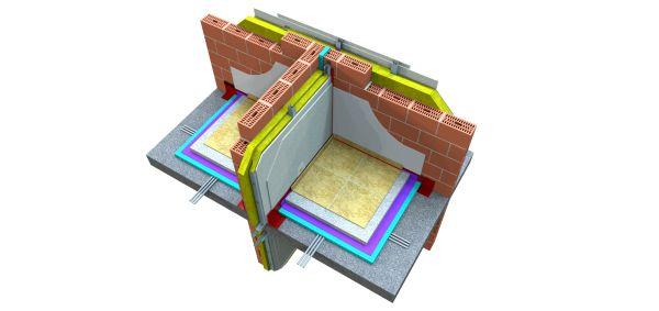 Parete in elementi di laterizio con rivestimento in lastre di gesso realizzata in Belgio per separare alloggi distinti [11].