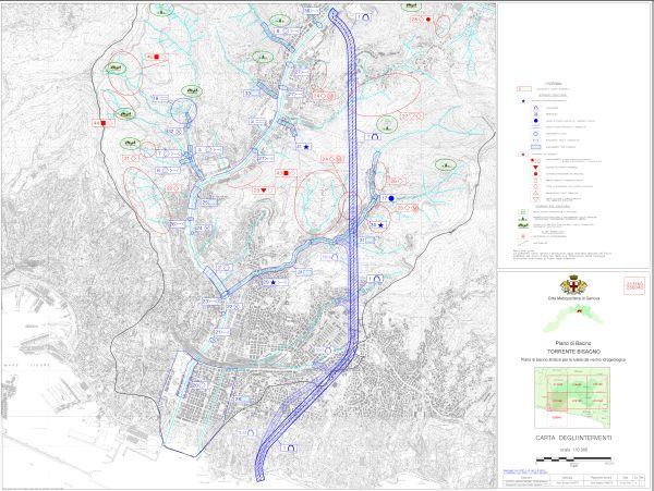 Carta degli interventi del Piano di bacino stralcio per la tutela del rischio idrogeologico del torrente Bisagno.