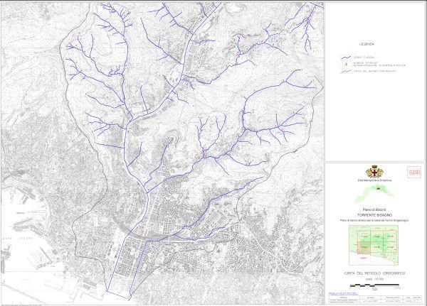 Carta del reticolo idrografico del Piano di bacino stralcio per la tutela del rischio idrogeologico del torrente Bisagno.