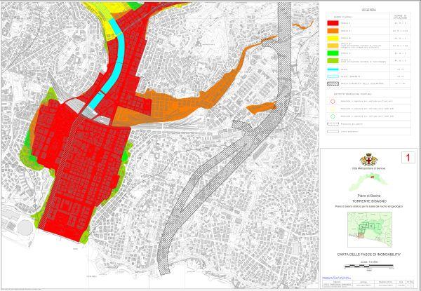 Carta delle aree inondabili e delle aree storicamente inondate del Piano di bacino stralcio per la tutela del rischio idrogeologico del torrente Bisagno.