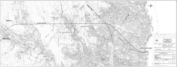 Il tracciato dello scolmatore del torrente Bisagno.