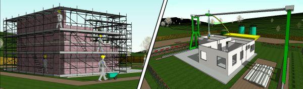 Due estratti dal modello digitale. Sulla sinistra è possibile vedere il ponteggio allestito per la fase di costruzione della muratura portante, sulla destra l'impianto Contour Crafting impegnato nell'attività di stampaggio della muratura.