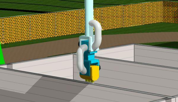Dettaglio dell'ugello dell'impianto Contour Crafting con la funzione di estrudere il calcestruzzo.