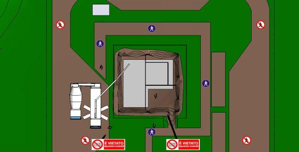 Vista in pianta dell'attività di getto del massetto di fondazione eseguita con l'ausilio di autopompa e autobetoniera.