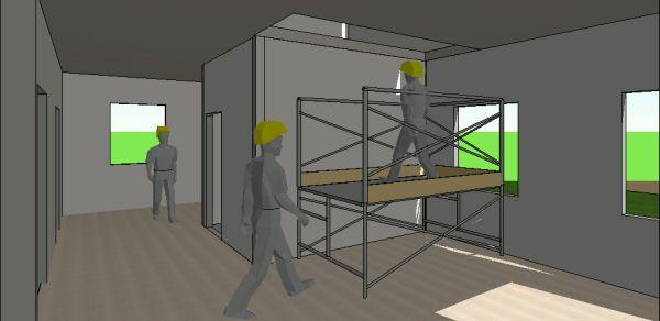 Prospettiva interna della costruzione realizzata con la tecnologia del Contour Crafting in cui si possono vedere gli operai intenti nello svolgimento dell'attività di montaggio dei controsoffitti in cartongesso.