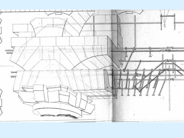 Rondelet: particolare delle armature delle piattabande del portico.