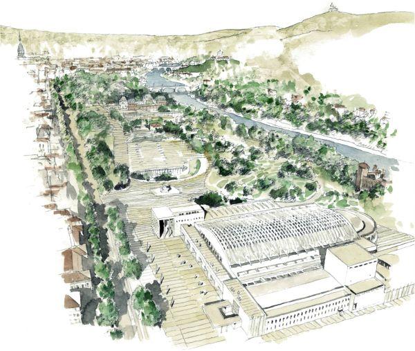 Il masterplan dell'intervento di Torino Esposizioni, con gli edifici ricompresi nel verde del Parco del Valentino (fonte, Dipartimento Architettura e Design).