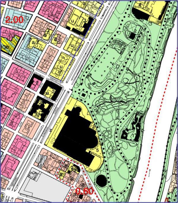 Uno stralcio del prg del comune di Torino del 1995, con evidenziati gli edifici del complesso di Torino Esposizioni (Comune di Torino, servizio Pianificazione).