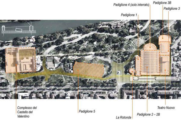 La planimetria del complesso di edifici di Torino Esposizioni con indicati i padiglioni e gli edifici rilevanti (fonte, Dipartimento Architettura e Design).