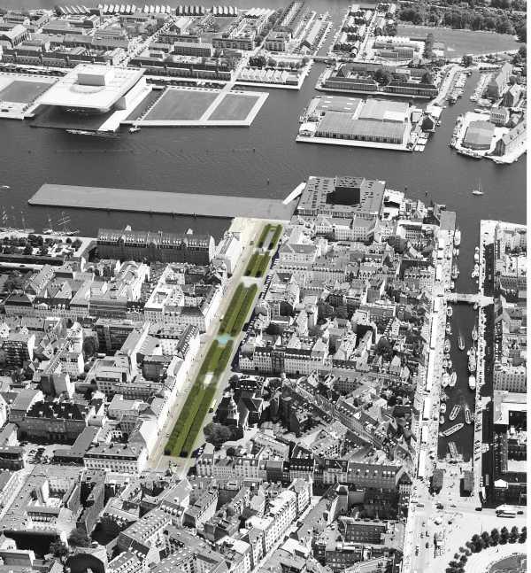 Nella foto aerea, il centro di Copenhagen. In verde l'intervento sulla piazza lineare di Sant'Anna e la proposta di sistemazione per renderla permeabile all'acqua.