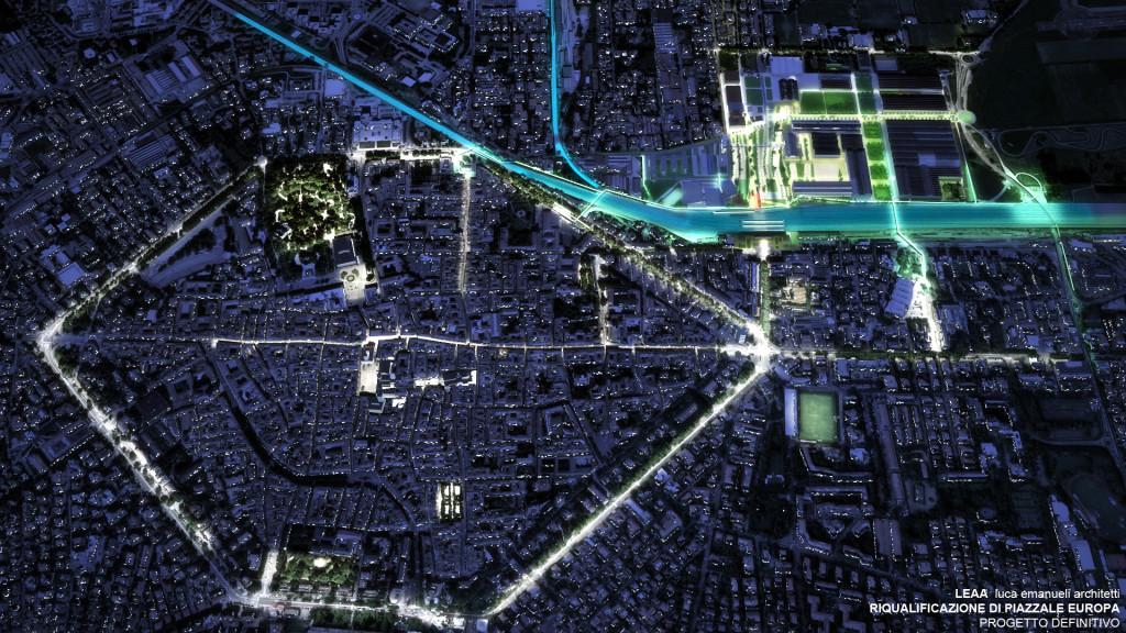 Immagine notturna del centro cittadino di Reggio Emilia: sulla destra il nuovo Parco dell'Innovazione (©Leaa Luca Emanueli Architetti).