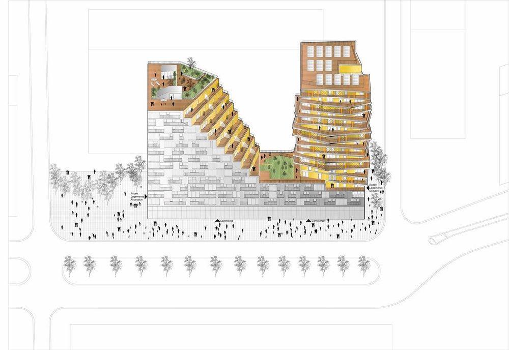 Home ospita appartamenti e spazi commerciali ed è composto da 2 torri che si ergono da un basamento comune a pianta rettangolare.