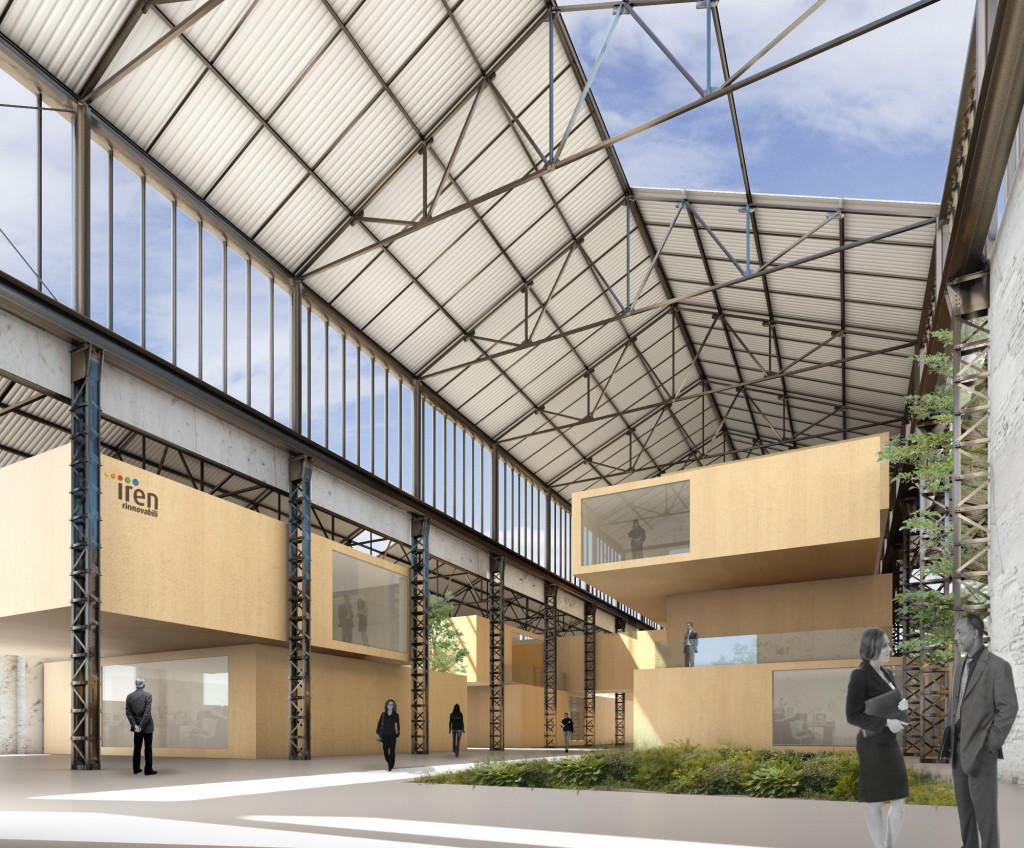 Immagine di interni dei capannoni 17 e 18 ristrutturati (©Andrea Oliva Architetto).