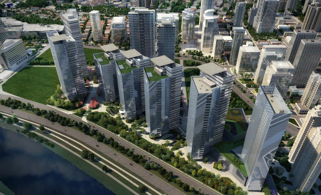 Engbras. Park City, The Glebe, San Paolo- Brasile. Il complesso è costituito da 10 edifici, 6 torri per uffici, 2 torri residenziali, un centro commerciale e un hotel su un'area di intervento di oltre 62.000 mq. Il progetto è stato coordinato da Odebrecht, con il supporto di Aflalo & Gasperini per la parte architettonica e di Arup per la sostenibilità. Engbras si è occupata dei calcoli strutturali. Software utilizzato: Aecosim Building Designer.
