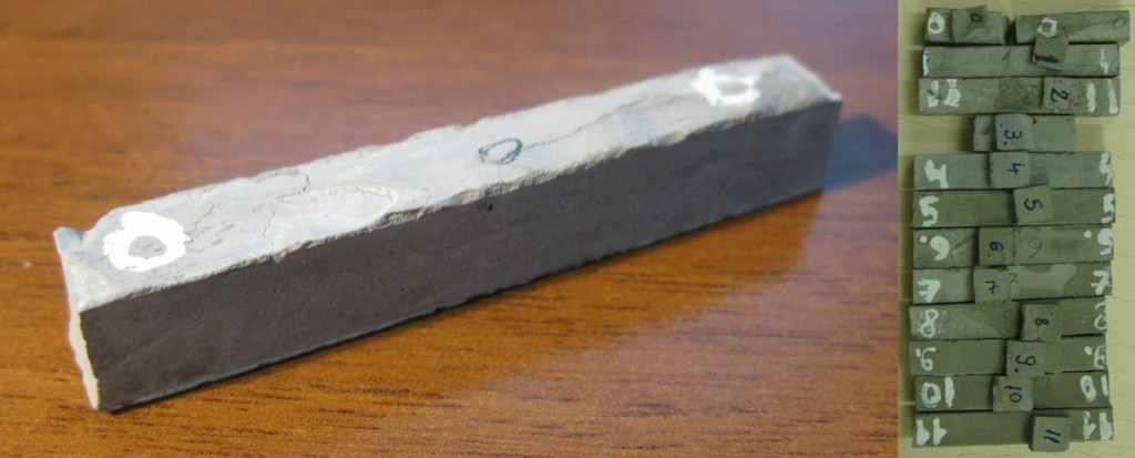 Campione di calcestruzzo polimerico esaminato (sezione: 10×10 mm2).