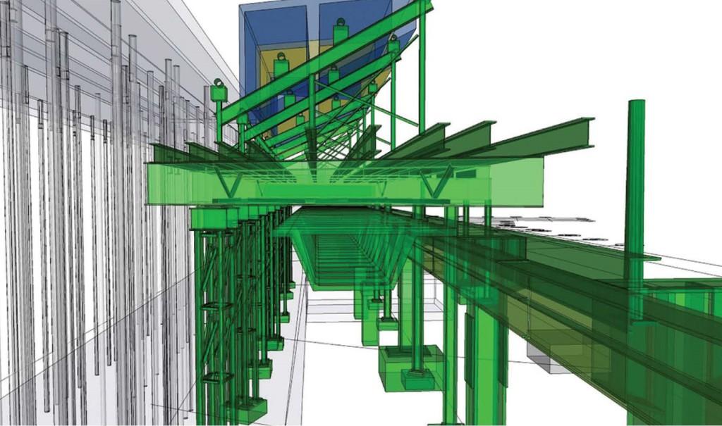 Modello dettagliato del sistema costruttivo di travi in acciaio, elementi prefabbricati, impianti e supporti temporanei | ©Turner Construction Company