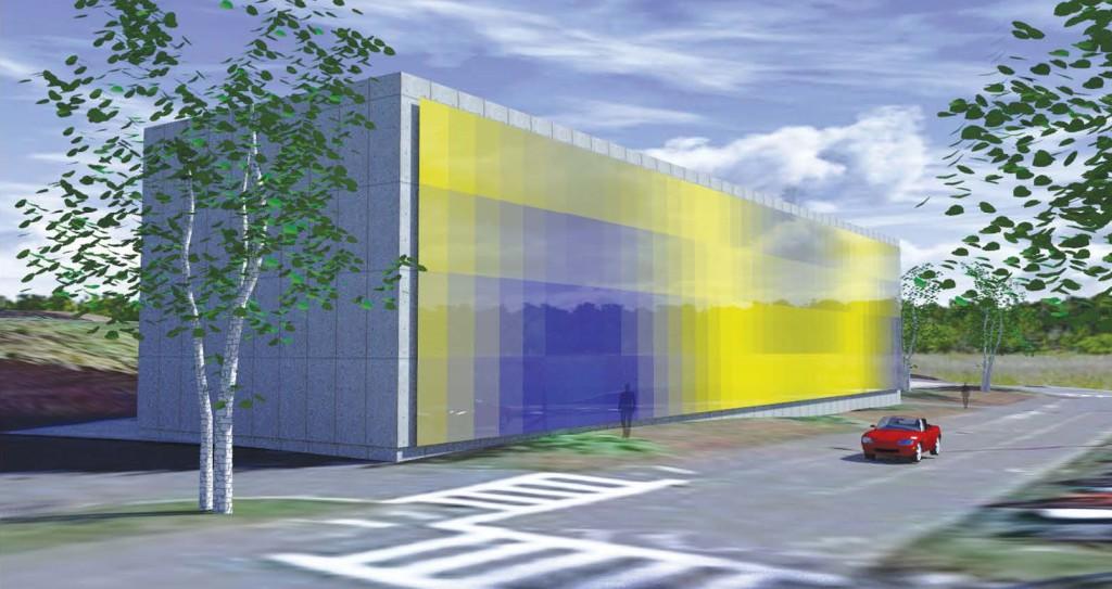 Rendering di un intero edificio con una facciata continua con pannelli basati su un attrattore.