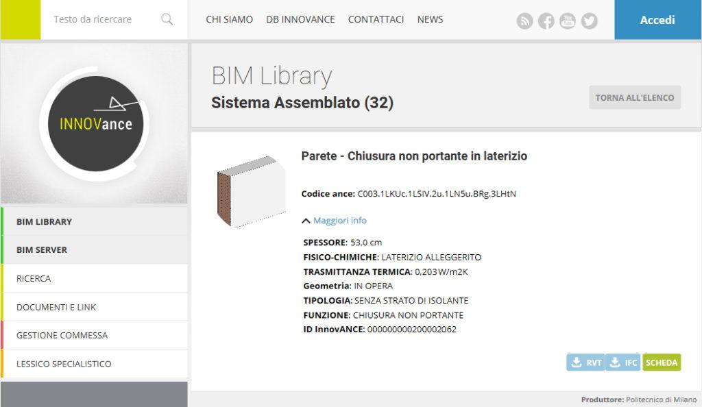 """1. Piattaforma INNOVance: BIM Library, sistema assemblato scheda """"Parete - Chiusura non portante in laterizio"""" (corrispondente alla stratigrafia n. 1 della tabella 2)."""