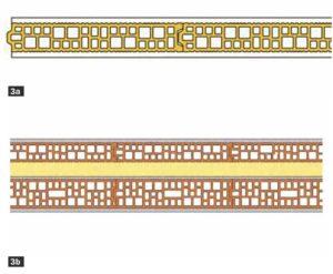 3. Esempi di stratigrafie di divisori in laterizio: tramezza a fori verticali con giunti ad incastro (3a) e muratura pluristrato con tramezze preincise a incastro per divisori tra unità abitative (3b).