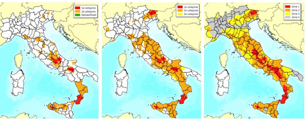 Figura 1. Evoluzione della mappatura sismica del territorio Italiano, da sinistra a destra: 1970, 1981, 2003.