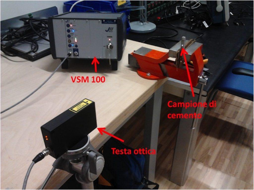 1. Set-up di misura impiegato. La testa ottica del vibrometro laser è posizionata a una distanza di 40 cm dal campione di cemento da analizzare [5].